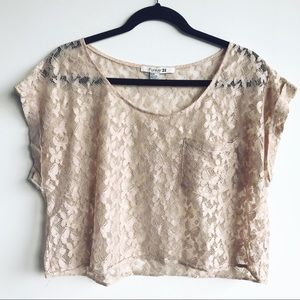 Cream-Colored Butterfly-Lace Sheer Top